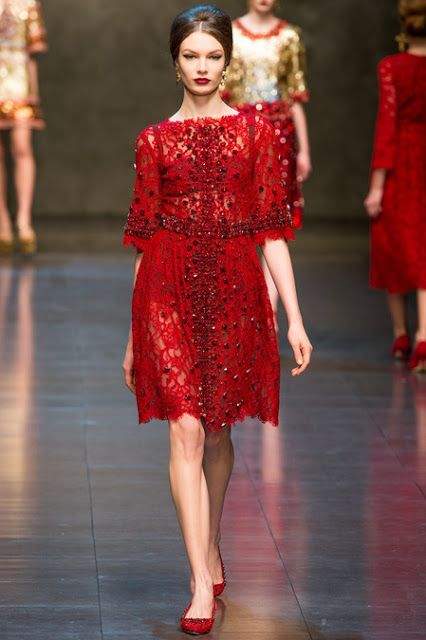 dolce and gabbana fall 2013 embellished red lace dress - Dolce and ...