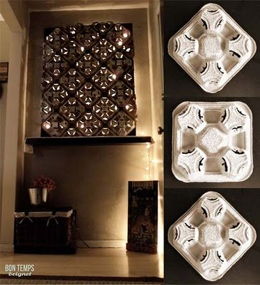 Recycled Cup Holder Wall Decor