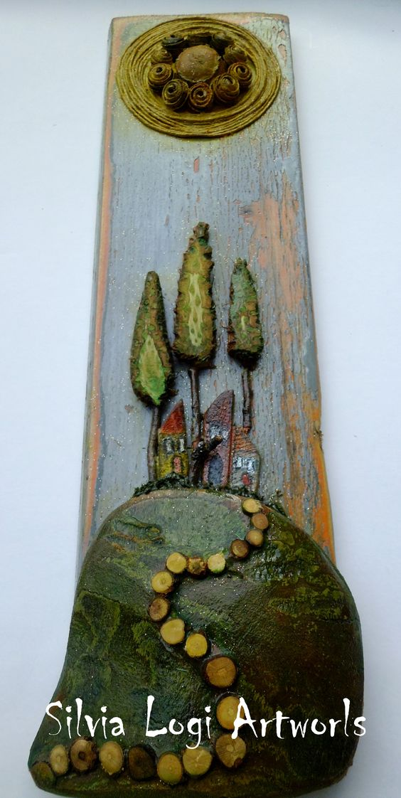 small #landscape #mosaic on #wood, see more on fb https://www.facebook.com/pages/Silvia-Logi-Artworks/121475337893535
