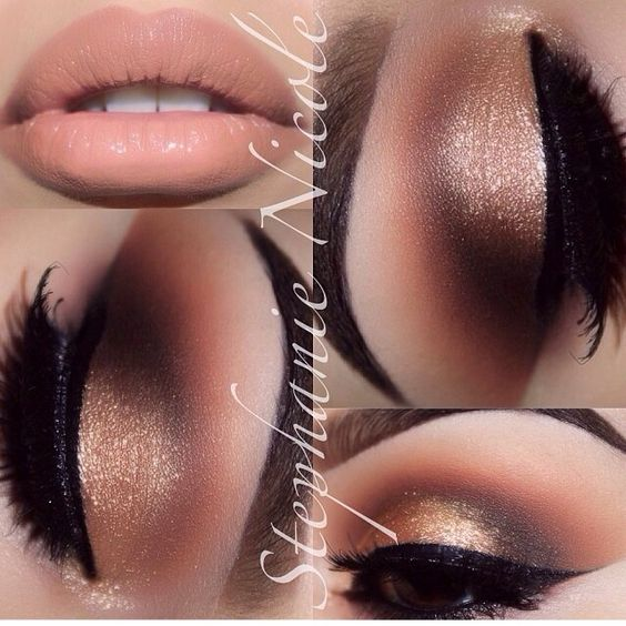 Gold neutral makeup <3