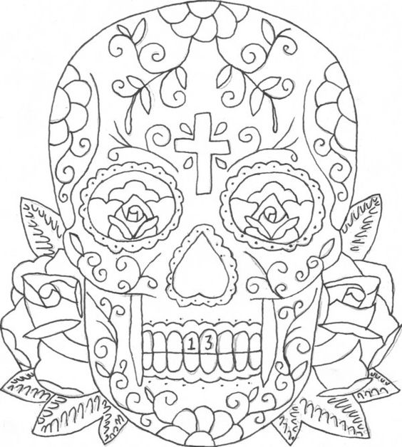 Printable Coloring Pages Of Skulls And Roses Candy Skull Skulls And Roses Coloring Pages