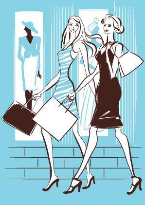 街を歩くショッピング中の女友達のおしゃれな線画イラスト イラスト