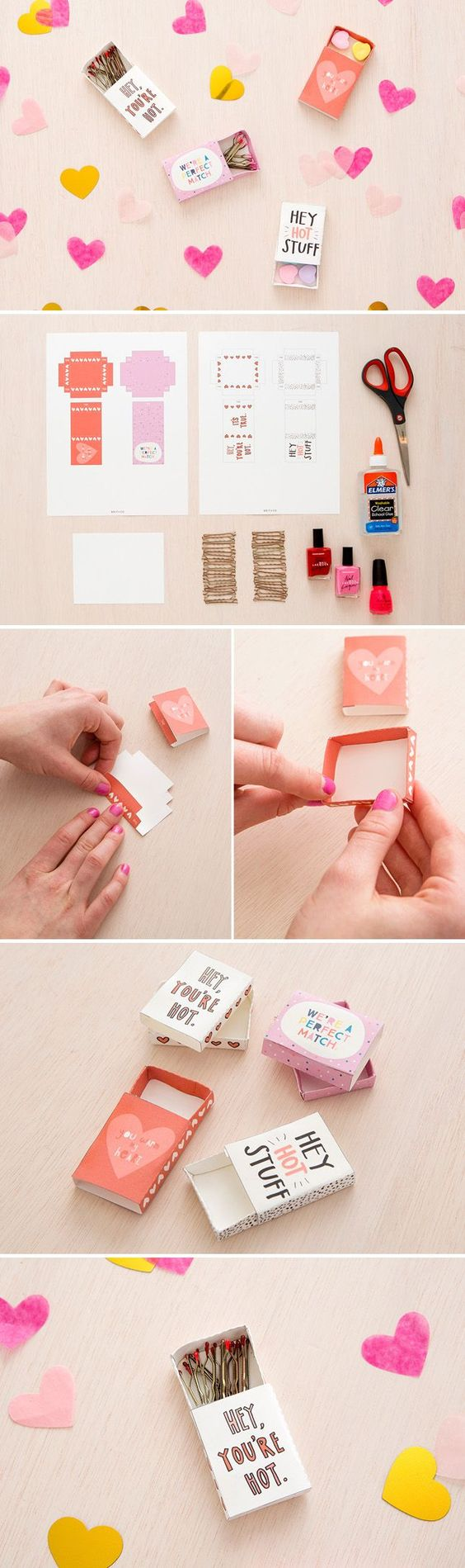 Learn how to make DIY Matchbox Valentines gift boxes with this fun tutorial and FREE PRINTABLES via Brit + Co #valentines #freeprintablevalentines #valentinesprintables #freevalentinesdaycards #valentinesdaypartyprintables #valentinesdayparty