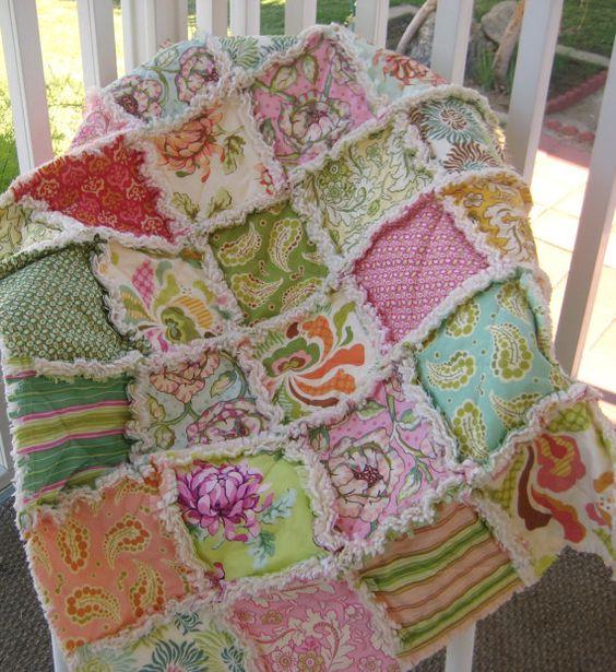 Baby Rag Quilt Crib Size Shabby Modern Chintz Sage by PeppersAttic