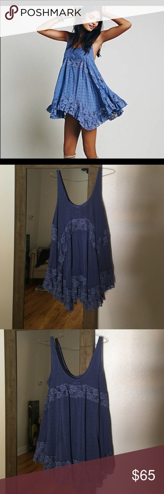 """Free people """"she swings"""" trapeze dress Sz small Like new only worn inside, too big , will trade for an extra small.  No rips or tears, purple color Free People Tops Tunics"""