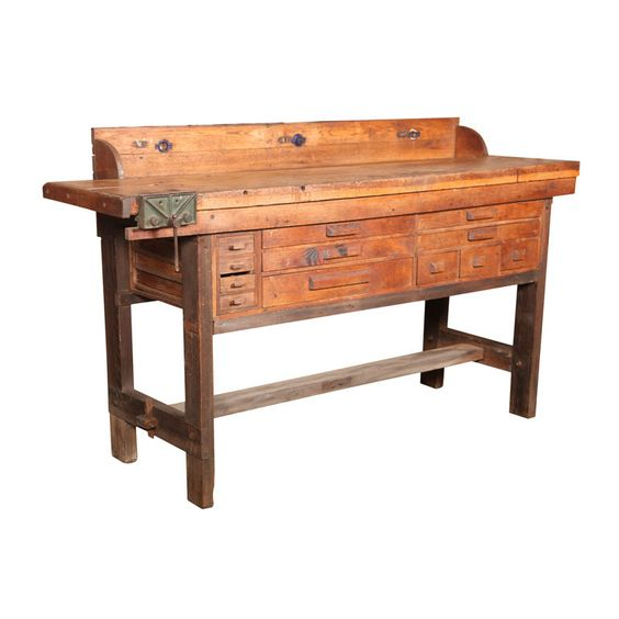 Original Vintage American Made Oak Work Bench With Vice Industrial Wraps And Cash Wrap