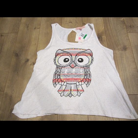 Brand New Owl Tank Top Brand new, never used tank top with owl print.Materials: 97% cotton, 3% polyester Rebellious One Tops Tank Tops