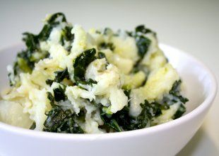Mashed Potatoes with Goat Cheese (!) and Kale