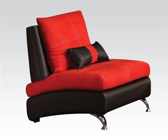 Jolie Red Black Leather PU Wood Chair w/1 Pillow