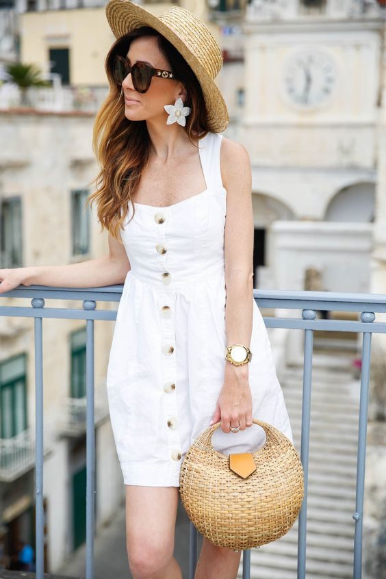 white summer dress and straw bag #kayu #freepeople #whitedress