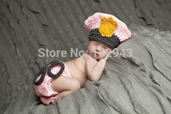 Pas cher 2015 New crochet chapeau fille ensemble nouveau   né crochet tenues…
