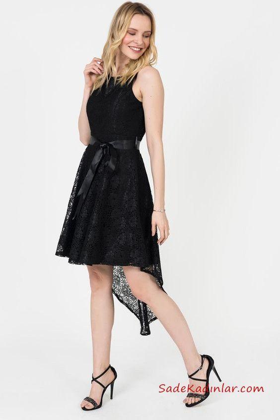2019 Siyah Dantel Elbise Modelleri Siyah Onu Kisa Arkasi Uzun Kolsuz Kurdela Kemerli Klos Etekli Siyah Dantel Elbiseler Dantel Elbise Elbise Modelleri