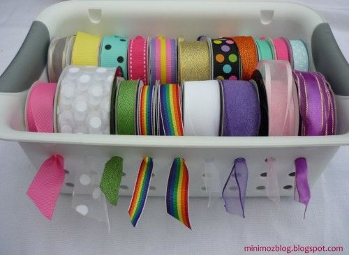 Organize ribbon. I have a TON of these baskets. Just stick a couple dowels through the holes!: