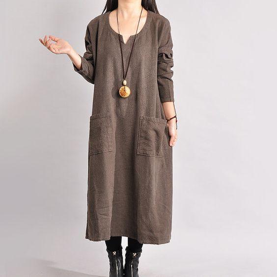 Women Linen Dress Loose Dress Long Sleeve  Dress Large Size Dress Spring And Autumn Dress