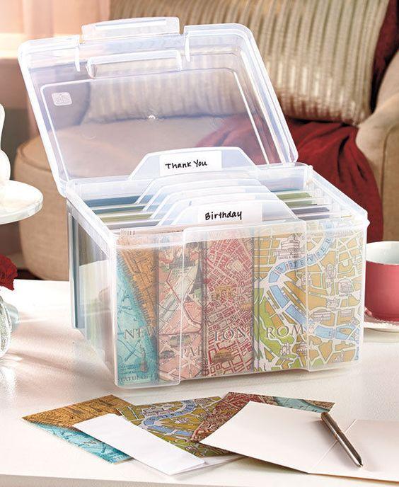 Greeting Card Organizer, Card Organizer And Recipe Box On