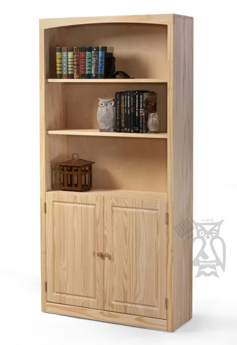 Solid Pine Wood Unfinished Modern Style Bookcase With Doors 36 Wide X 72 High Real Wood Furniture Reading Room Decor Bookcase