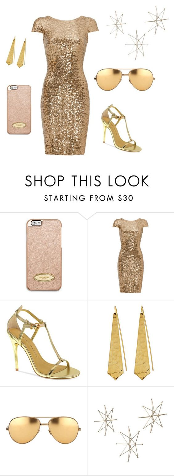 """""""Gold"""" by chox154 ❤ liked on Polyvore featuring MICHAEL Michael Kors, Badgley Mischka, Chinese Laundry, Panacea and Linda Farrow"""