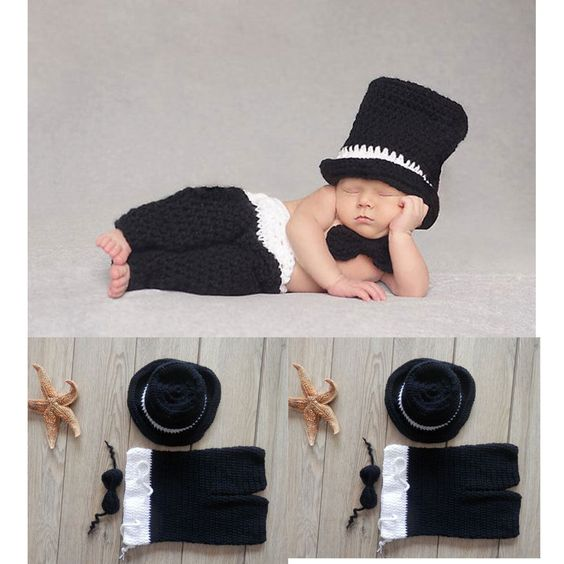 NEW Crochet Baby Boys Hats Knitted Costume Photo Photography Prop Outfits 3 Pcs