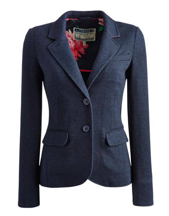 Joules Womens Jersey Tweed Blazer, Navy.                     A great alternative to a traditional blazer, this soft jersey jacket could almost pass as tweed in disguise. It will work with almost anything in your wardrobe and is so easy to wear. Dress it up or dress it down, the choice is yours.