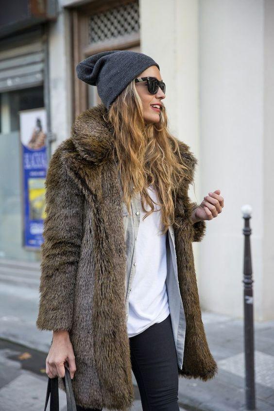 style.: Fur Coats, Fur Beanie, Faux Fur Coat, Fashion Style, Winter Style, Street Style, Winter Outfit, Faux Fur Jacket, Fall Winter
