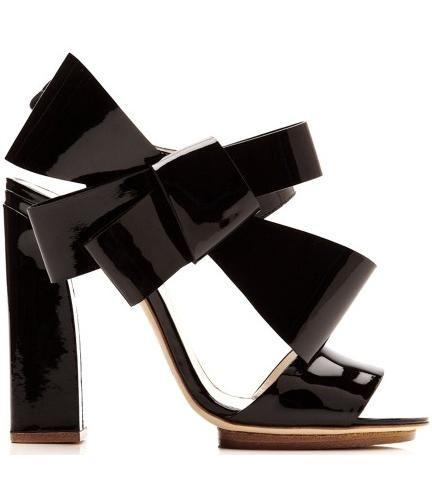 Delpozo Patent-Leather Bow-Detail Sandals