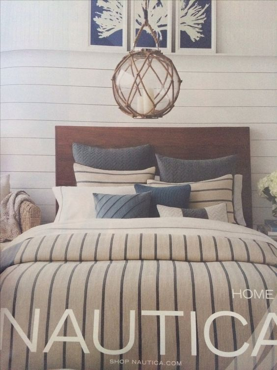 Nautical bedroom bedding lighting
