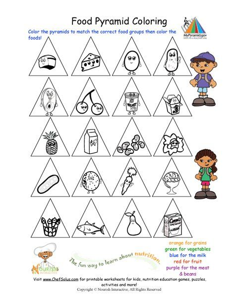 Great Way To Teach Children About Nutrituion Printable Color The Food Groups Worksheet Group Meals Heart Coloring Pages Kids Colouring Printables Healthy eating lesson for kindergarten