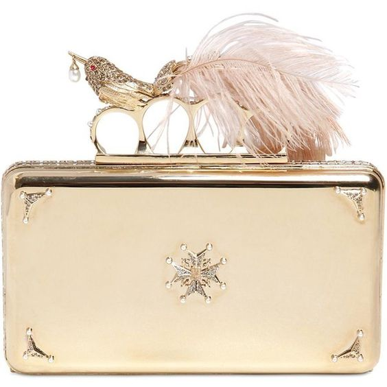ALEXANDER MCQUEEN Bird Embellished Knuckle Box Clutch (£1,725) ❤ liked on Polyvore featuring bags, handbags, clutches, alexander mcqueen, purses, bolsas, gold, embellished handbags, alexander mcqueen handbags and clasp handbag