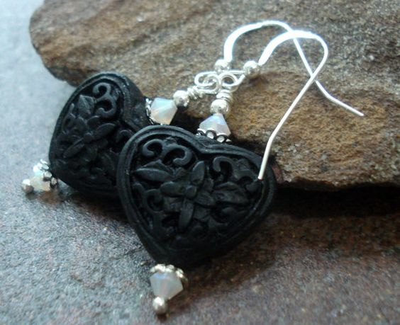 Black Heart Cinnebar Earrings Sterling Silver and by JensFancy