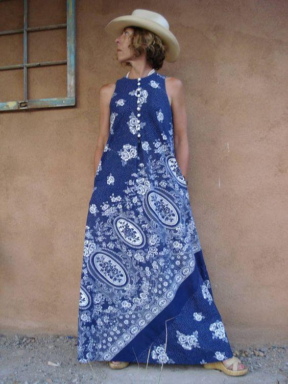 1960s Matisse Blue Keyloun Maxi Dress 2012255 by bycinbyhand, $85.00