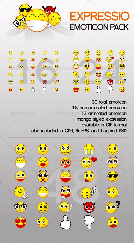 Expressio Emoticon Pack  #GraphicRiver            Expressio Emoticon Pack – 30 Emoticon Set 30 emoticon set with manga styled expressions. includes 12 animated and 18 non-animated emoticon. ready made in GIF format. also included raw files in:  CDR   Ai  EPS   Layered PSD  Emoticon Samples  LOL :   Geek :   Cry :       Created: 29November11 GraphicsFilesIncluded: PhotoshopPSD #VectorEPS #AIIllustrator Layered: Yes MinimumAdobeCSVersion: CS PixelDimensions: 48x48 Tags: 16x16 #24x24 #48x48…
