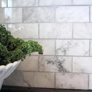 Marble Subway Tile Kitchen Back Splash