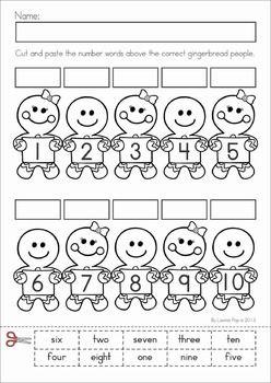 math worksheet : christmas math  literacy worksheets  activities no prep  : Number Word Worksheets For Kindergarten