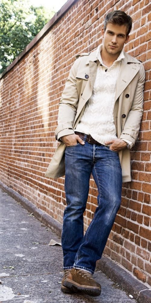 Men's Beige Trenchcoat White V-neck Sweater Blue Jeans Brown