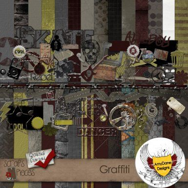 $5.99 Digital Scrapbooking Kit ~ Graffiti is packed full of all things teen and grunge. A mega kit, you will have everything you need to create the perfect layout for the young adults in your life. Graffiti has 1 full alpha, Over 70 embellishments, 4 photo masks, 4 Word Arts and over 30 papers.