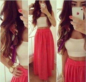 tank top white crop tops white summer top dress skirt long skirt ...