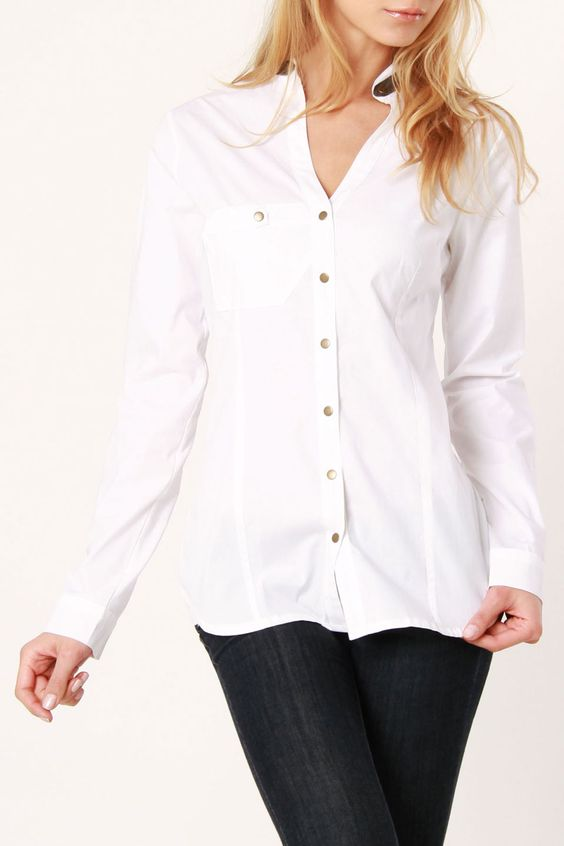 Strada Snap Blouse In White - Beyond the Rack