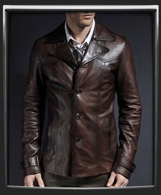 Vintage leather jacket with 70s collar. Leather jacket for men