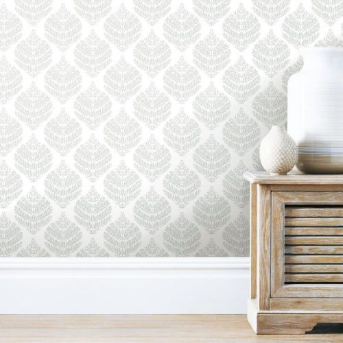 York Wallcoverings Hygge Fern Damask Gray And White Peel And Stick Wallpaper Rmk11511wp Bellacor Peel And Stick Wallpaper Wall Coverings Wall Decor Decals