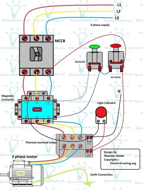 Three Phase Dol Starter Wiring Diagram With Mccb Contactor Electrical Wiring Electrical Circuit Diagram Basic Electrical Wiring