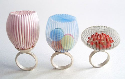 Mariko Kusumoto Rings: Untitled, 2014 Silver, polyester, thread: