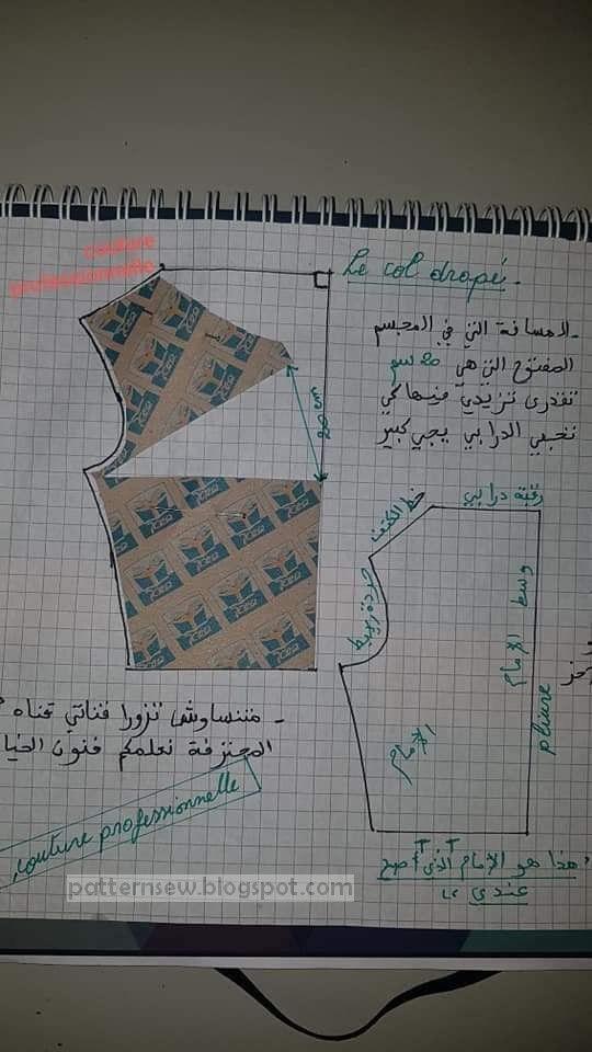 باترون كول باطو وكول درابي Pattern Sewing Clothes Sewing Patterns Sewing Patterns Dress Sewing Patterns