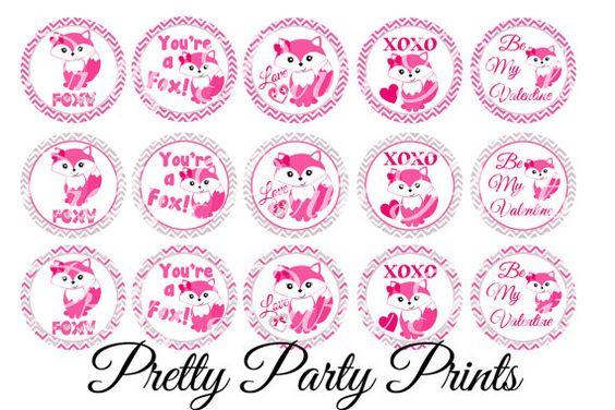 Instant Download Pink Fox Valentine 1 inch by PrettyPartyPrints