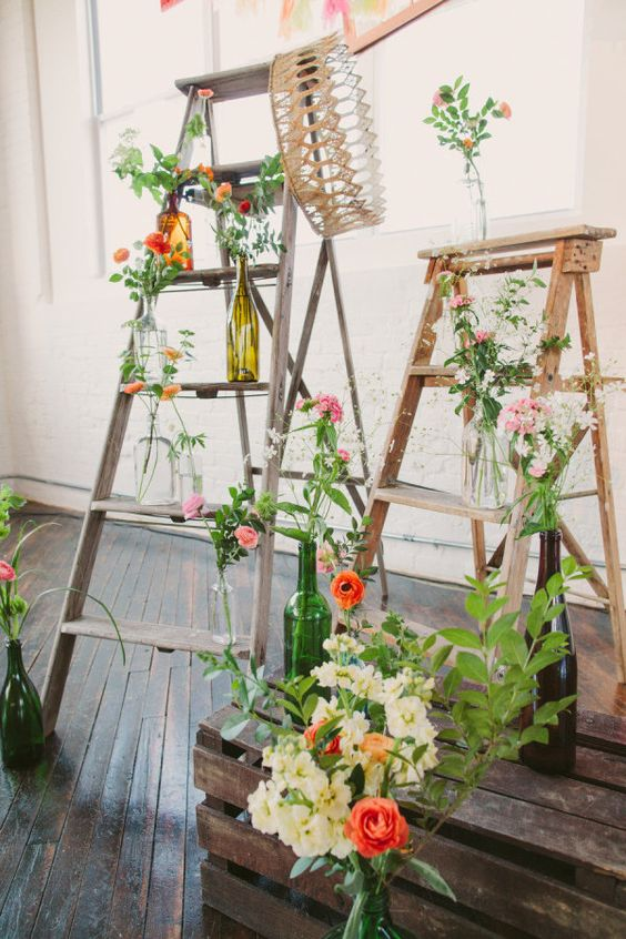 whimsical ceremony decor that makes great use of old ladders  Photography by laurenfairphotography.com, Floral Design by liliesandlavender.com, Wedding Day Coordination by dpnak.com