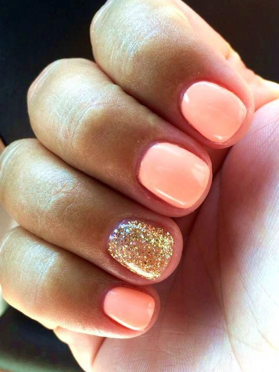 Coral And Gold Glitter Acrylicnaildesigns Gold Glitter Nails