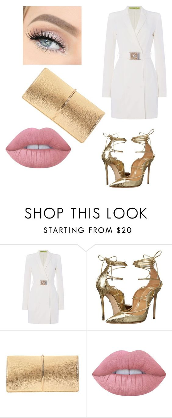 """""""A little white and gold is always beautiful #fashion"""" by staciapandalover ❤ liked on Polyvore featuring Versace, Dsquared2, Nina Ricci and Lime Crime"""