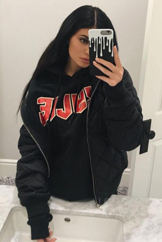 kylie jenner wearing fan merchandise kylie script hoodie. Black Bedroom Furniture Sets. Home Design Ideas