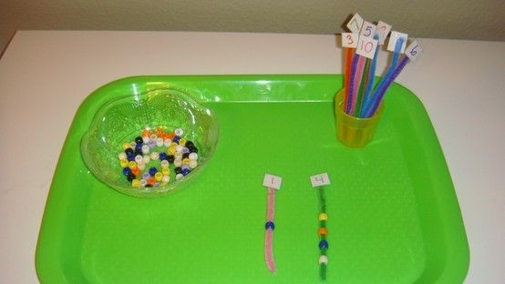 Toddler School Tray: Fine Motor and Numbers: Stringing appropriate number of beads onto pipe cleaners by carlani