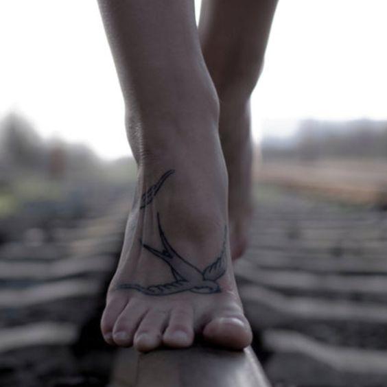 Sparrow foot tattoo: Bird Tattoos, Sparrow Tattoo, Feet Tattoos, Tattoo S, Foot Tattoo, Tattoos Piercings, Tattoo Design, Swallow Tattoos