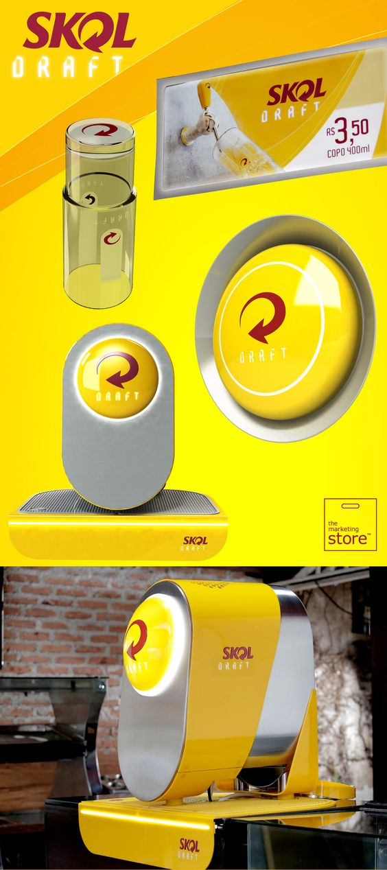 AMBEV - SKOL DRAFT  - Brand, Draft machine, utility materials, visibility materials.